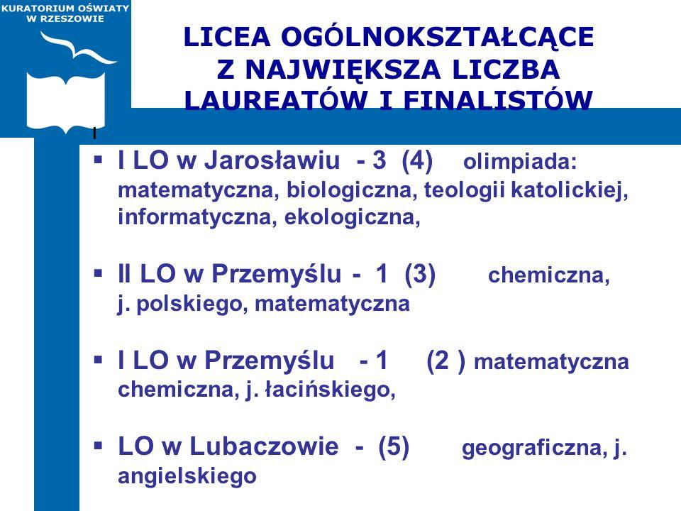 LICEA OG Ó LNOKSZTAŁCĄCE Z NAJWIĘKSZA LICZBA LAUREAT Ó W I FINALIST Ó W I I LO w Jarosławiu - 3 (4) olimpiada: matematyczna, biologiczna, teologii kat