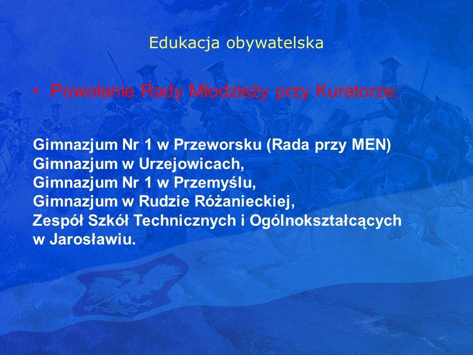 Edukacja obywatelska Powołanie Rady Młodzieży przy Kuratorze: Gimnazjum Nr 1 w Przeworsku (Rada przy MEN) Gimnazjum w Urzejowicach, Gimnazjum Nr 1 w P