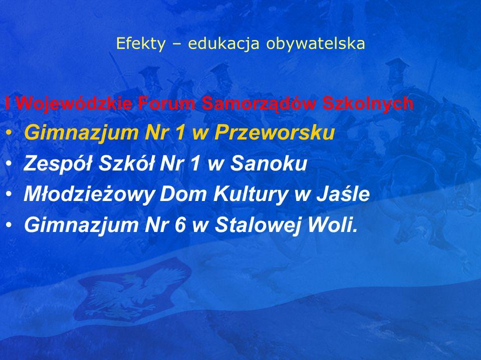 Efekty – edukacja obywatelska I Wojewódzkie Forum Samorządów Szkolnych Gimnazjum Nr 1 w Przeworsku Zespół Szkół Nr 1 w Sanoku Młodzieżowy Dom Kultury