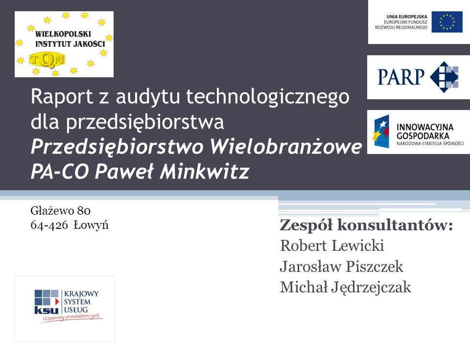 Raport z audytu technologicznego dla przedsiębiorstwa Przedsiębiorstwo Wielobranżowe PA-CO Paweł Minkwitz Zespół konsultantów: Robert Lewicki Jarosław