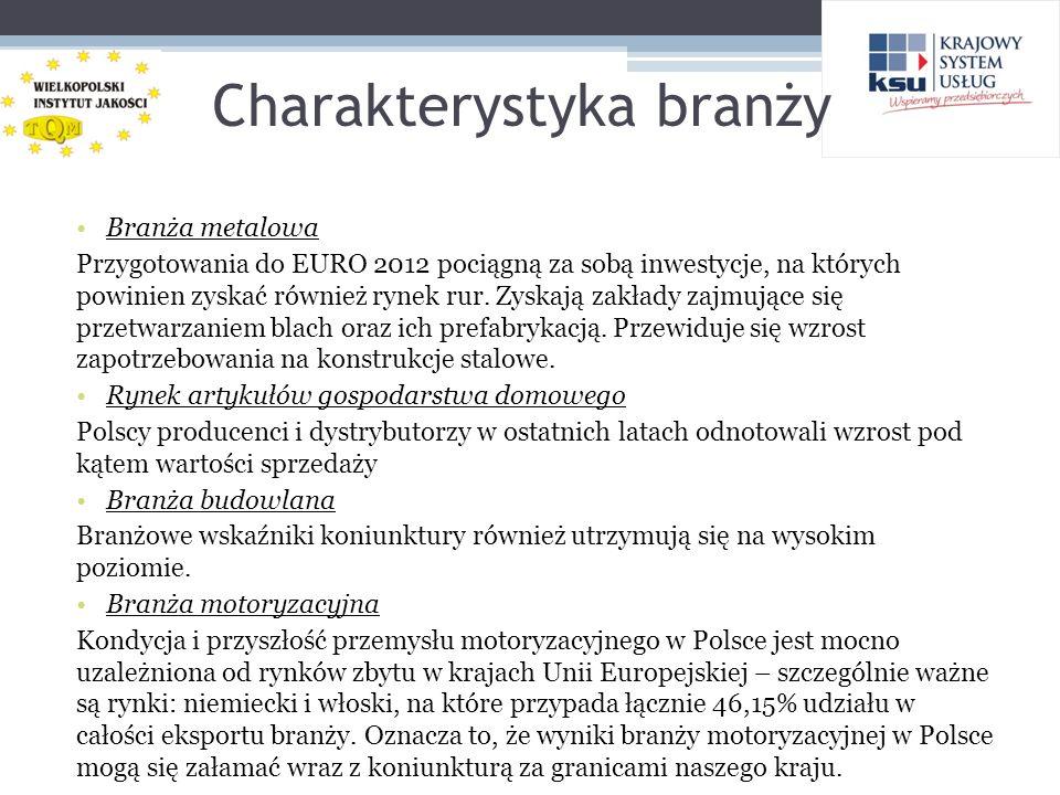 Charakterystyka branży Branża metalowa Przygotowania do EURO 2012 pociągną za sobą inwestycje, na których powinien zyskać również rynek rur. Zyskają z