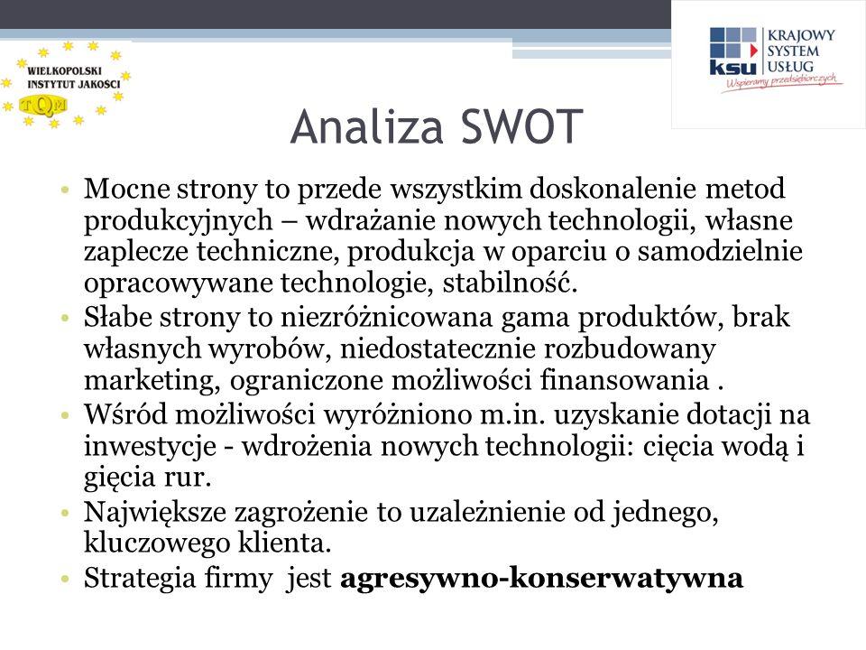 Analiza SWOT Mocne strony to przede wszystkim doskonalenie metod produkcyjnych – wdrażanie nowych technologii, własne zaplecze techniczne, produkcja w oparciu o samodzielnie opracowywane technologie, stabilność.