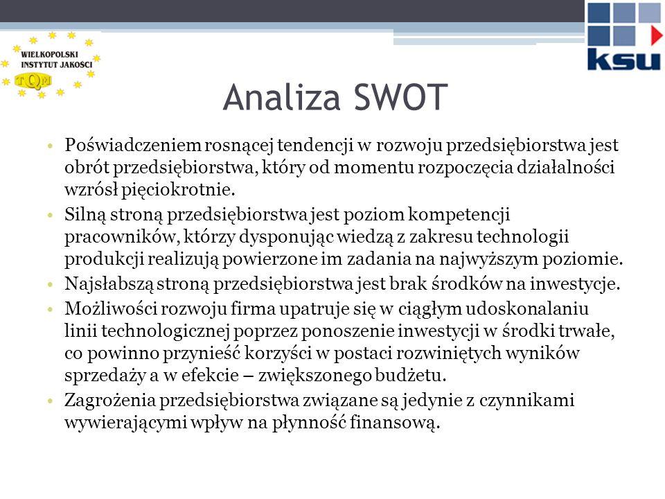 Analiza SWOT Poświadczeniem rosnącej tendencji w rozwoju przedsiębiorstwa jest obrót przedsiębiorstwa, który od momentu rozpoczęcia działalności wzrós