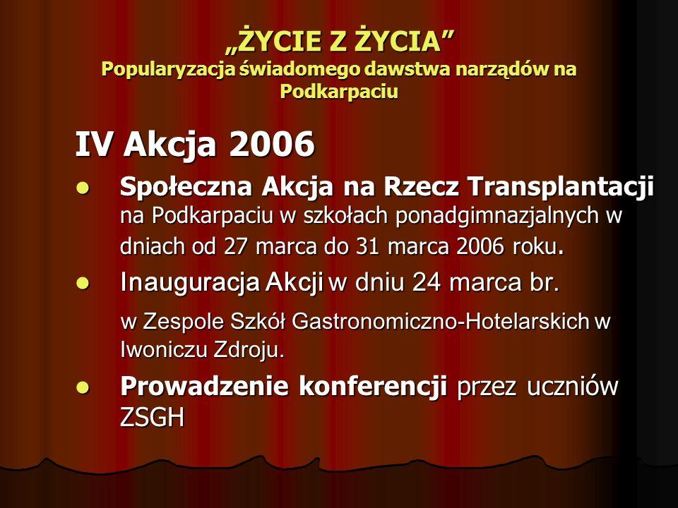 ŻYCIE Z ŻYCIA Popularyzacja świadomego dawstwa narządów na Podkarpaciu IV Akcja 2006 Społeczna Akcja na Rzecz Transplantacji na Podkarpaciu w szkołach ponadgimnazjalnych w dniach od 27 marca do 31 marca 2006 roku.