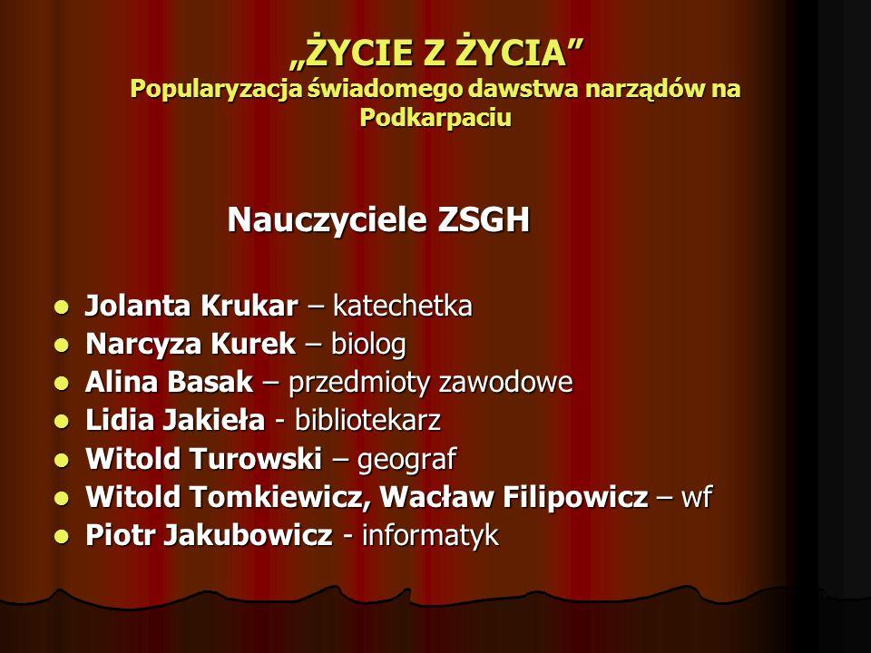 ŻYCIE Z ŻYCIA Popularyzacja świadomego dawstwa narządów na Podkarpaciu Nauczyciele ZSGH Jolanta Krukar – katechetka Jolanta Krukar – katechetka Narcyz
