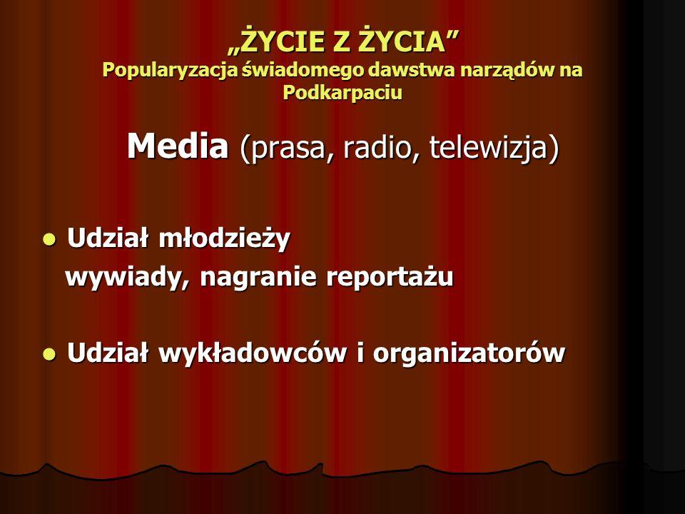 ŻYCIE Z ŻYCIA Popularyzacja świadomego dawstwa narządów na Podkarpaciu Media (prasa, radio, telewizja) Udział młodzieży Udział młodzieży wywiady, nagr