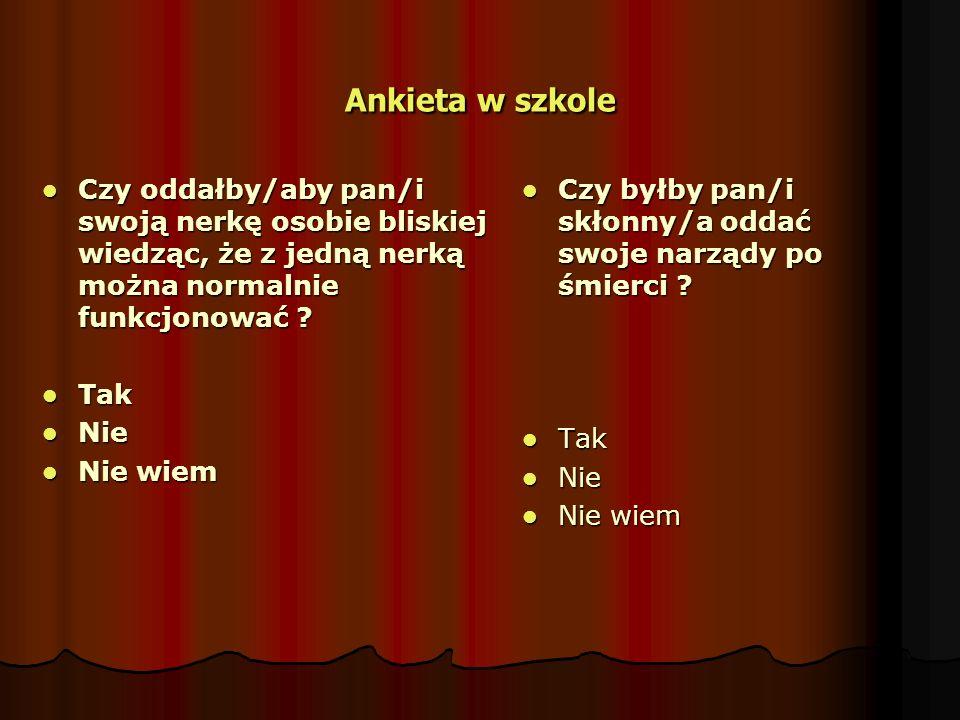 Ankieta w szkole Gdyby zaistniała sytuacja w, której bliska panu/i osoba została uznana za zmarłą, czy zgodziłby/aby się pan/i na pobranie od tej osoby narządów .