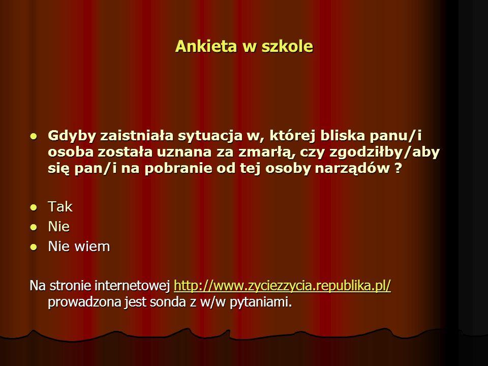 Ankieta w szkole Gdyby zaistniała sytuacja w, której bliska panu/i osoba została uznana za zmarłą, czy zgodziłby/aby się pan/i na pobranie od tej osob