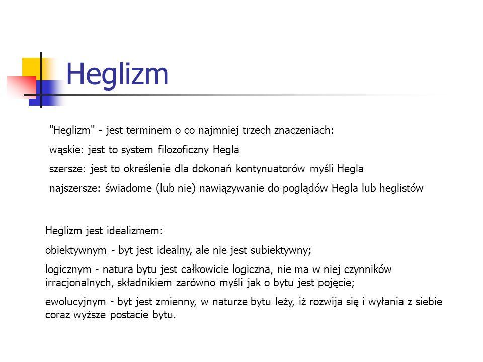 Heglizm Heglizm jest idealizmem: obiektywnym - byt jest idealny, ale nie jest subiektywny; logicznym - natura bytu jest całkowicie logiczna, nie ma w
