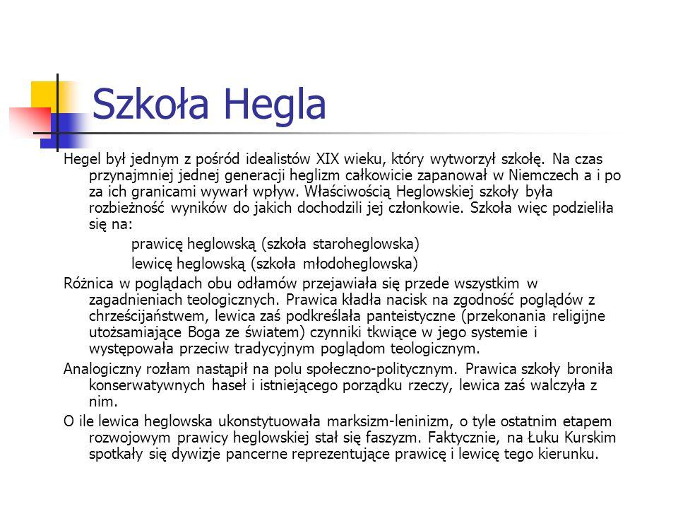 Szkoła Hegla Hegel był jednym z pośród idealistów XIX wieku, który wytworzył szkołę. Na czas przynajmniej jednej generacji heglizm całkowicie zapanowa