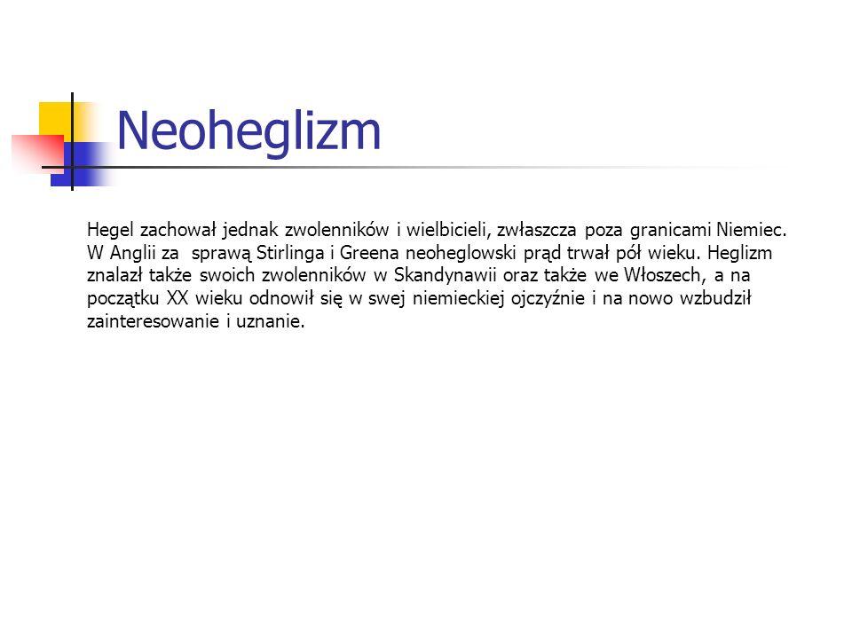Neoheglizm Hegel zachował jednak zwolenników i wielbicieli, zwłaszcza poza granicami Niemiec. W Anglii za sprawą Stirlinga i Greena neoheglowski prąd