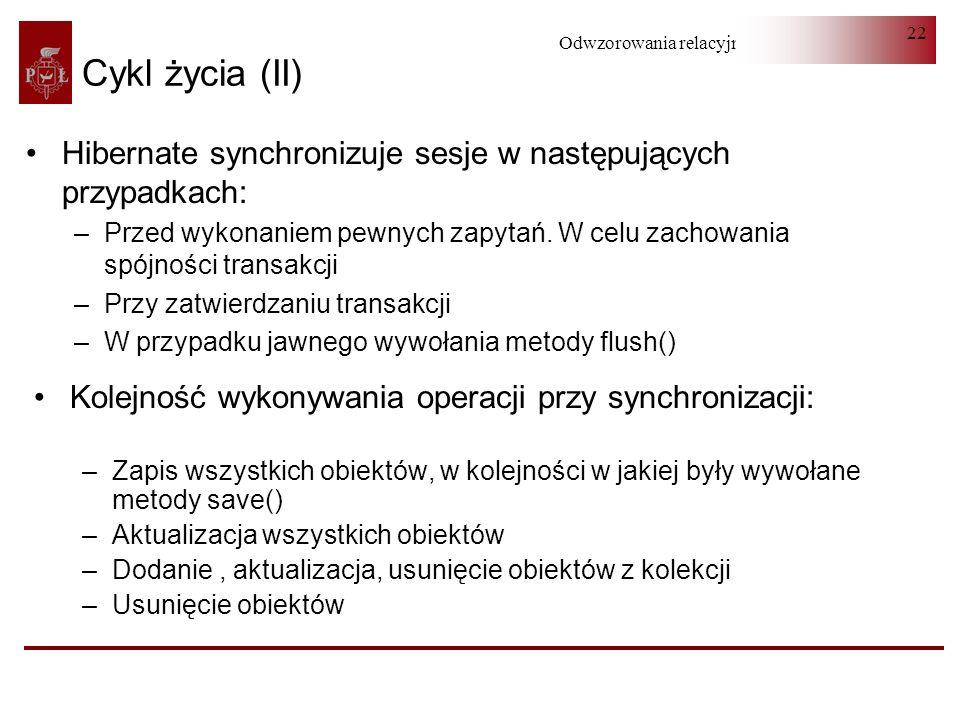 Odwzorowania relacyjno-obiektowe 22 Cykl życia (II) Hibernate synchronizuje sesje w następujących przypadkach: –Przed wykonaniem pewnych zapytań. W ce