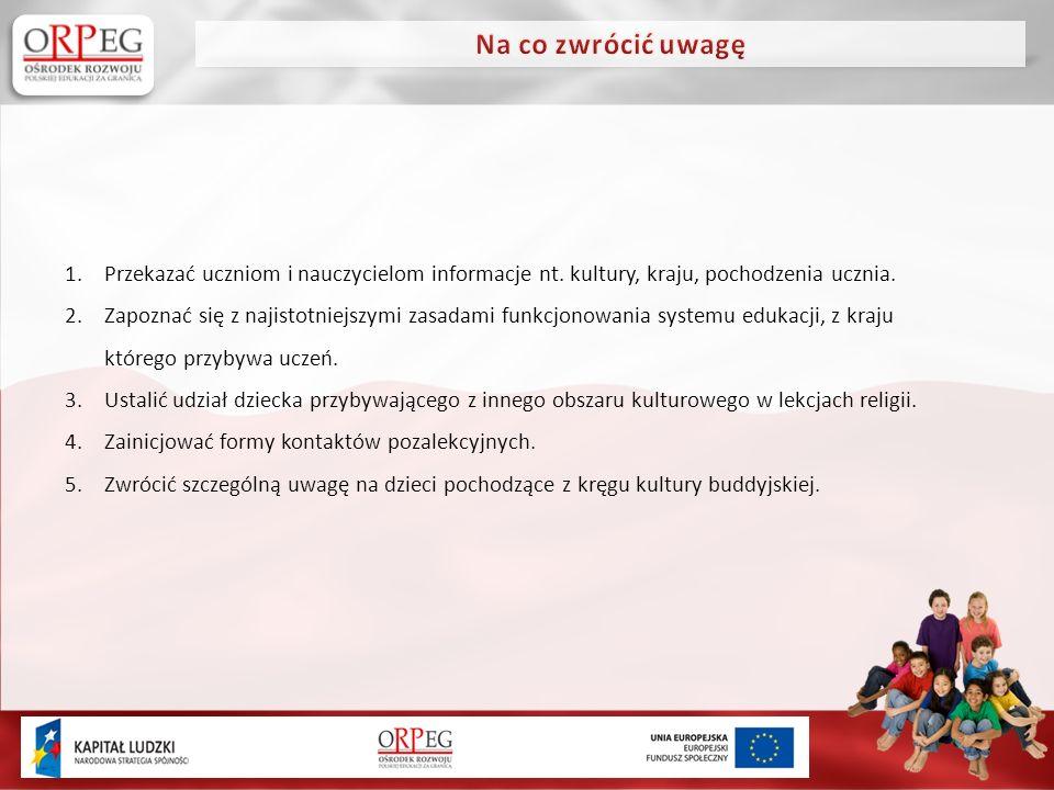 1.Przekazać uczniom i nauczycielom informacje nt. kultury, kraju, pochodzenia ucznia.