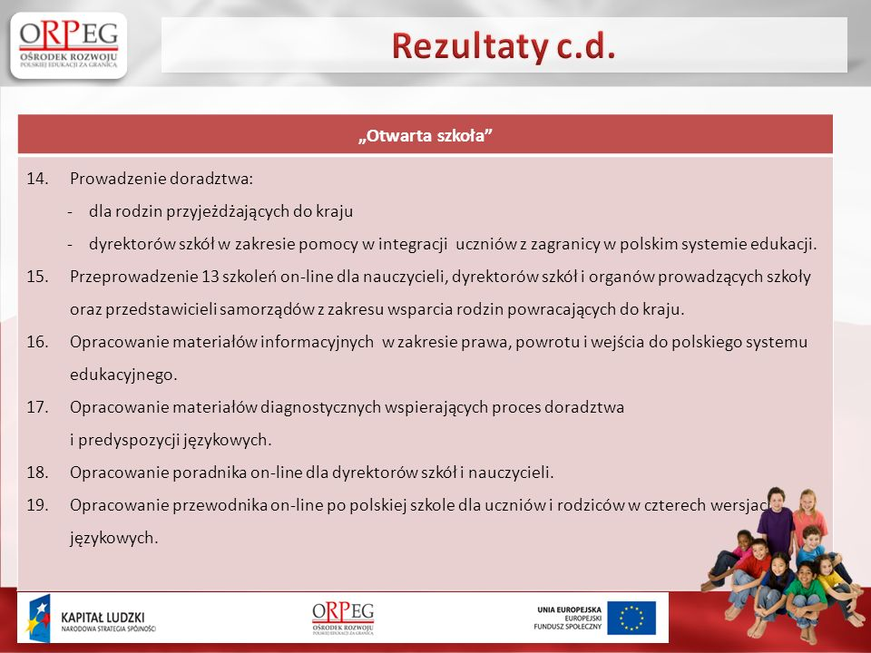Otwarta szkoła 14.Prowadzenie doradztwa: - dla rodzin przyjeżdżających do kraju - dyrektorów szkół w zakresie pomocy w integracji uczniów z zagranicy w polskim systemie edukacji.