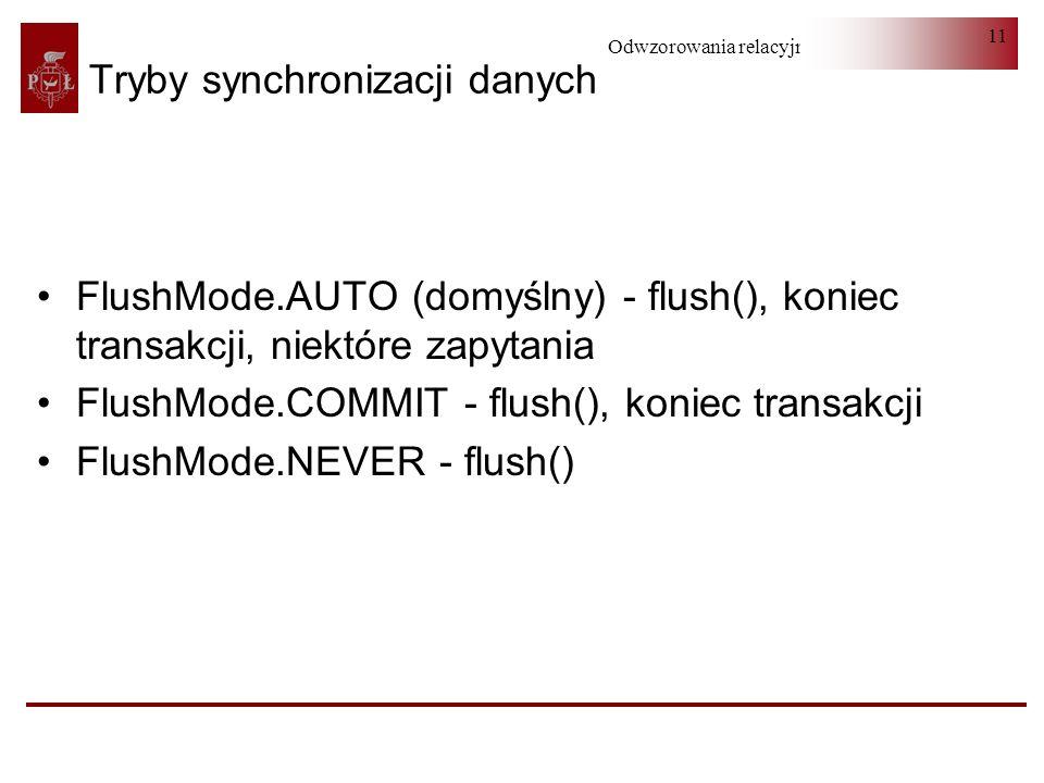 Odwzorowania relacyjno-obiektowe 11 Tryby synchronizacji danych FlushMode.AUTO (domyślny) - flush(), koniec transakcji, niektóre zapytania FlushMode.COMMIT - flush(), koniec transakcji FlushMode.NEVER - flush()