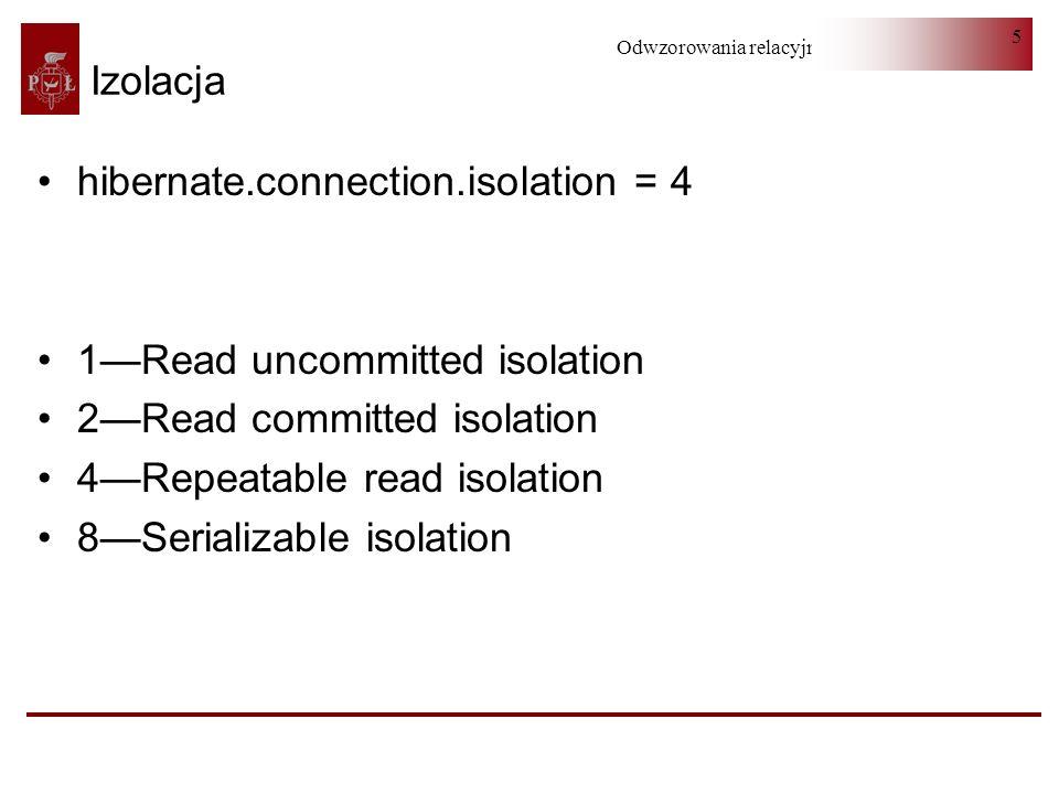 Odwzorowania relacyjno-obiektowe 6 Izolacja