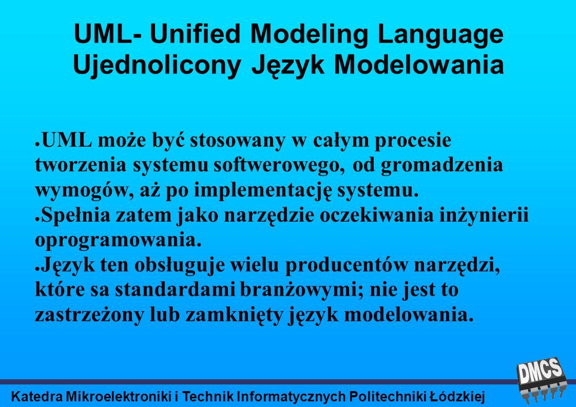 Katedra Mikroelektroniki i Technik Informatycznych Politechniki Łódzkiej UML- Unified Modeling Language Ujednolicony Język Modelowania UML może być stosowany w całym procesie tworzenia systemu softwerowego, od gromadzenia wymogów, aż po implementację systemu.