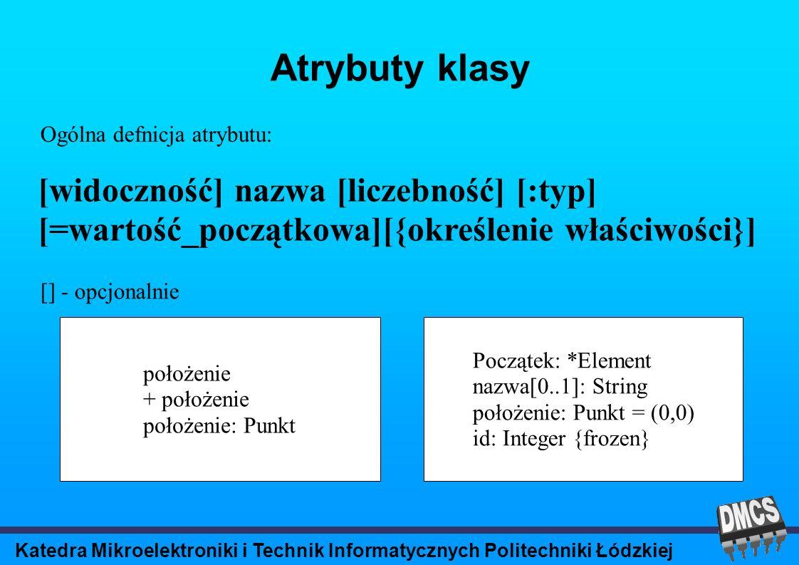 Katedra Mikroelektroniki i Technik Informatycznych Politechniki Łódzkiej Atrybuty klasy [widoczność] nazwa [liczebność] [:typ] [=wartość_początkowa][{określenie właściwości}] Ogólna defnicja atrybutu: [] - opcjonalnie położenie + położenie położenie: Punkt Początek: *Element nazwa[0..1]: String położenie: Punkt = (0,0) id: Integer {frozen}