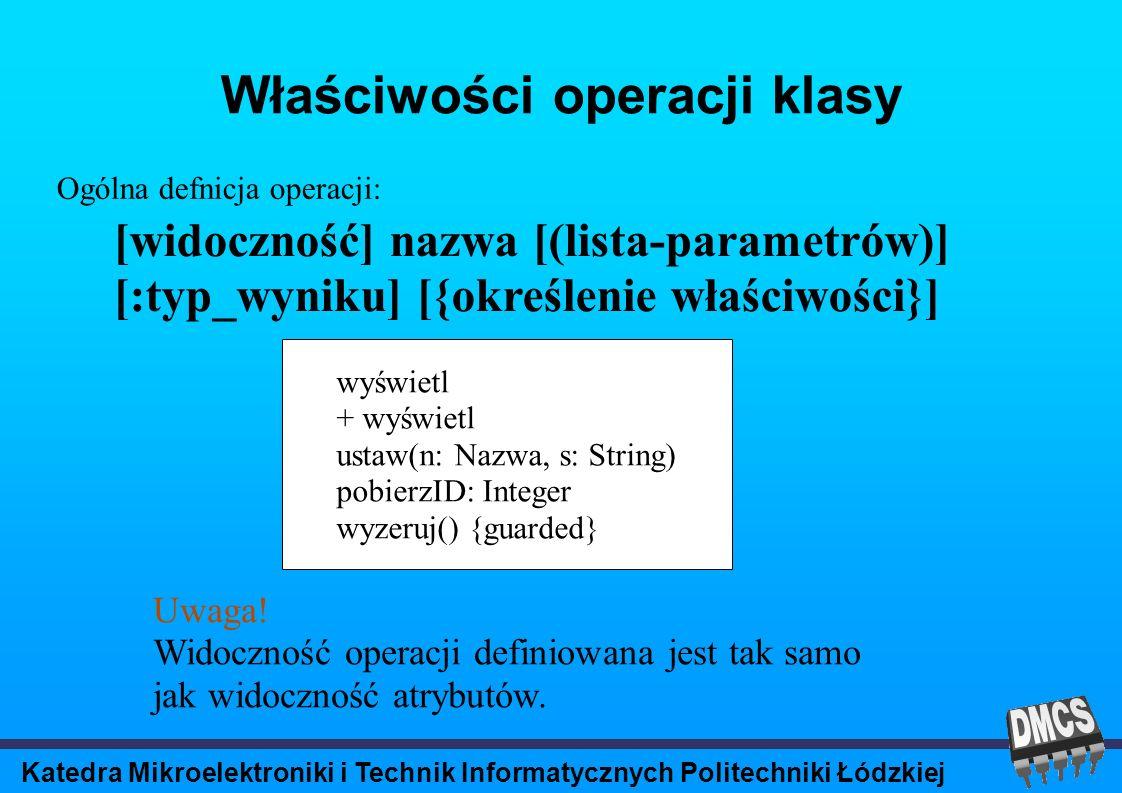 Katedra Mikroelektroniki i Technik Informatycznych Politechniki Łódzkiej Właściwości operacji klasy [widoczność] nazwa [(lista-parametrów)] [:typ_wyniku] [{określenie właściwości}] Ogólna defnicja operacji: wyświetl + wyświetl ustaw(n: Nazwa, s: String) pobierzID: Integer wyzeruj() {guarded} Uwaga.