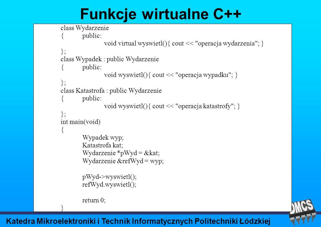 Katedra Mikroelektroniki i Technik Informatycznych Politechniki Łódzkiej Funkcje wirtualne C++ class Wydarzenie {public: void virtual wyswietl(){ cout << operacja wydarzenia ; } }; class Wypadek : public Wydarzenie {public: void wyswietl(){ cout << operacja wypadku ; } }; class Katastrofa : public Wydarzenie {public: void wyswietl(){ cout << operacja katastrofy ; } }; int main(void) { Wypadek wyp; Katastrofa kat; Wydarzenie *pWyd = &kat; Wydarzenie &refWyd = wyp; pWyd->wyswietl(); refWyd.wyswietl(); return 0; }