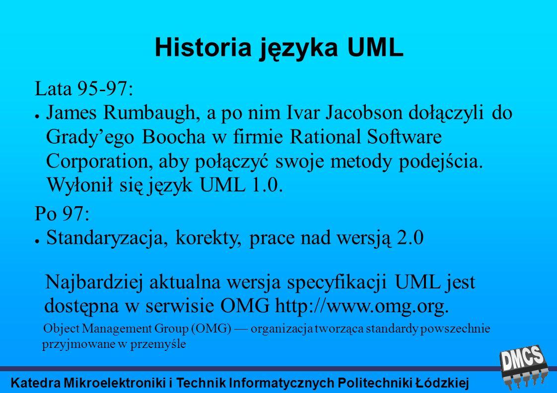 Katedra Mikroelektroniki i Technik Informatycznych Politechniki Łódzkiej Atrybuty klasy [widoczność] nazwa [liczebność] [:typ] [=wartość_początkowa][{określenie właściwości}] changeable – Nie ma ograniczeń co do modyfikacji wartości atrybutu.