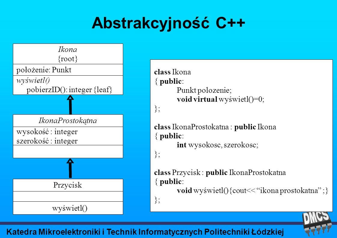 Katedra Mikroelektroniki i Technik Informatycznych Politechniki Łódzkiej Abstrakcyjność C++ class Ikona { public: Punkt polozenie; void virtual wyświetl()=0; }; class IkonaProstokatna : public Ikona { public: int wysokosc, szerokosc; }; class Przycisk : public IkonaProstokatna { public: void wyświetl(){cout<< ikona prostokatna ;} }; Ikona {root} położenie: Punkt wyświetl() pobierzID(): integer {leaf} IkonaProstokątna wysokość : integer szerokość : integer Przycisk wyświetl()
