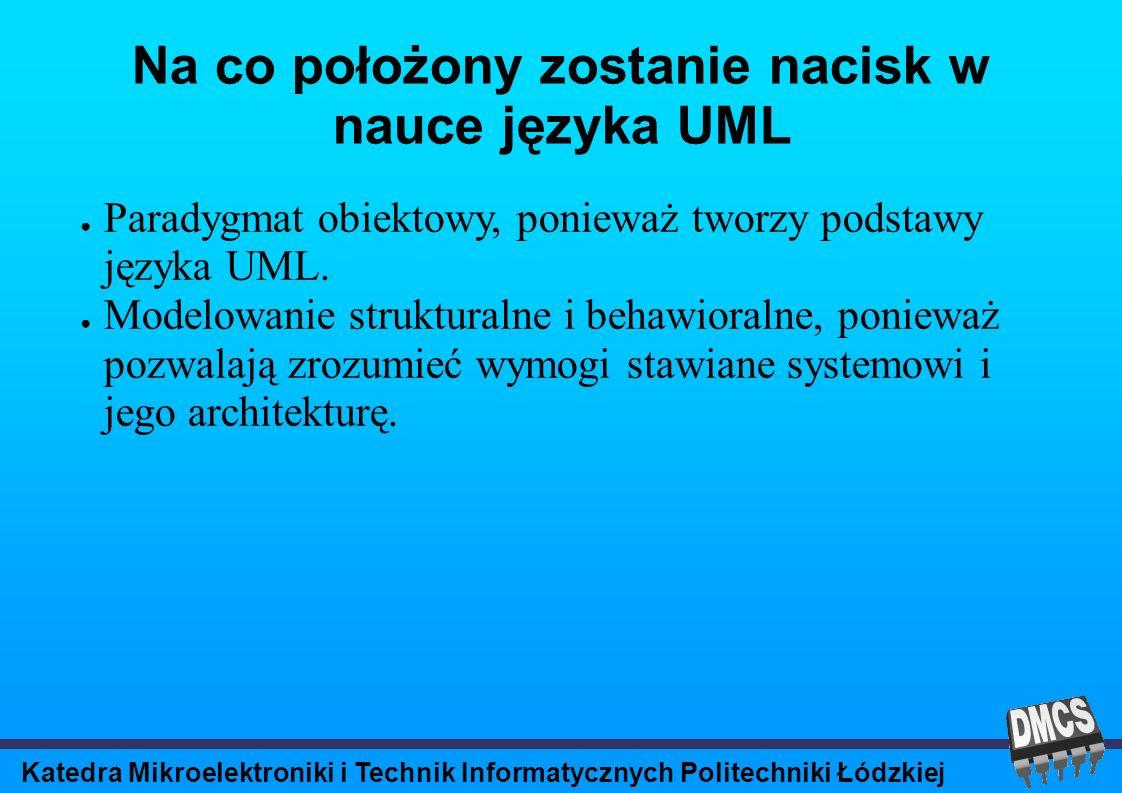 Katedra Mikroelektroniki i Technik Informatycznych Politechniki Łódzkiej UML językiem programowania.