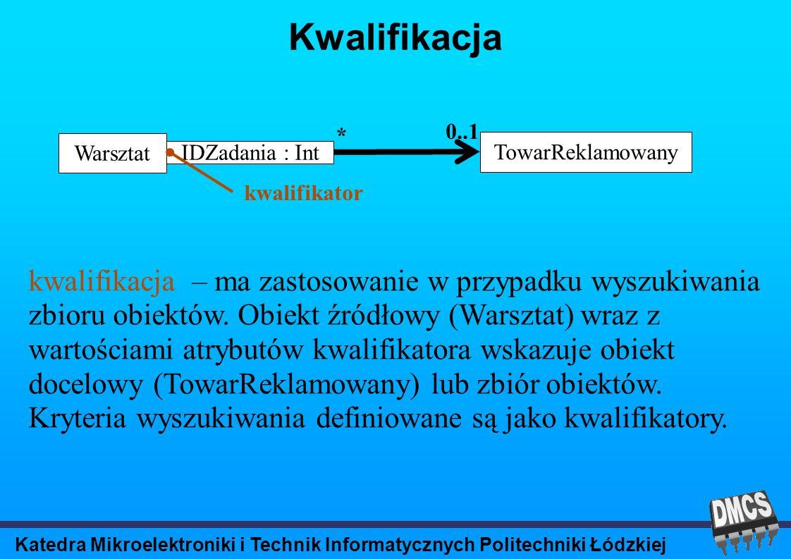Katedra Mikroelektroniki i Technik Informatycznych Politechniki Łódzkiej Kwalifikacja kwalifikacja – ma zastosowanie w przypadku wyszukiwania zbioru obiektów.