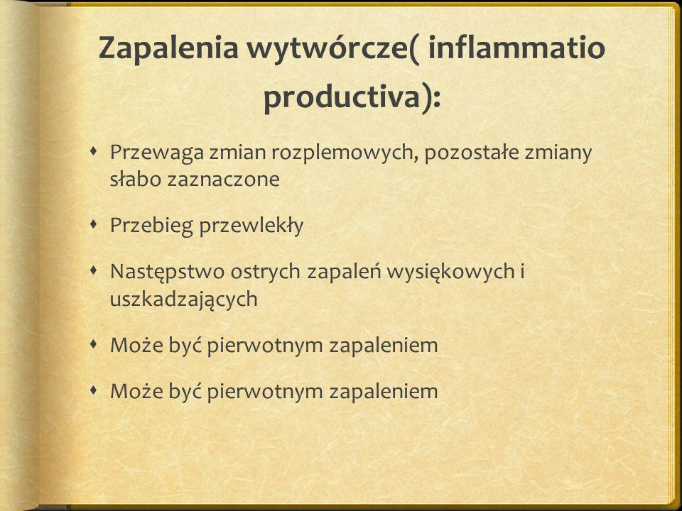 Zapalenia wytwórcze( inflammatio productiva): Przewaga zmian rozplemowych, pozostałe zmiany słabo zaznaczone Przebieg przewlekły Następstwo ostrych za