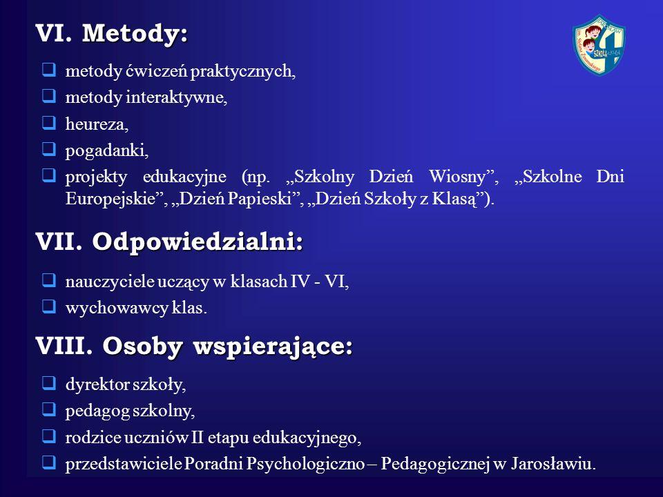 Metody: VI. Metody: metody ćwiczeń praktycznych, metody interaktywne, heureza, pogadanki, projekty edukacyjne (np. Szkolny Dzień Wiosny, Szkolne Dni E