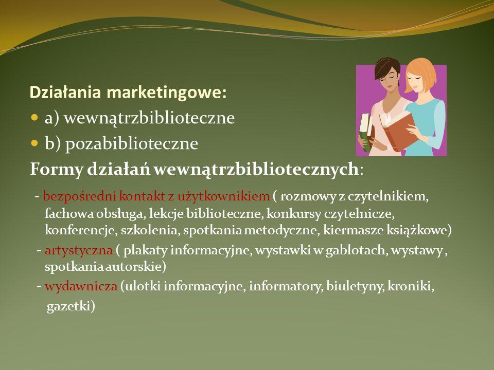 Działania marketingowe: a) wewnątrzbiblioteczne b) pozabiblioteczne Formy działań wewnątrzbibliotecznych: - bezpośredni kontakt z użytkownikiem ( rozm
