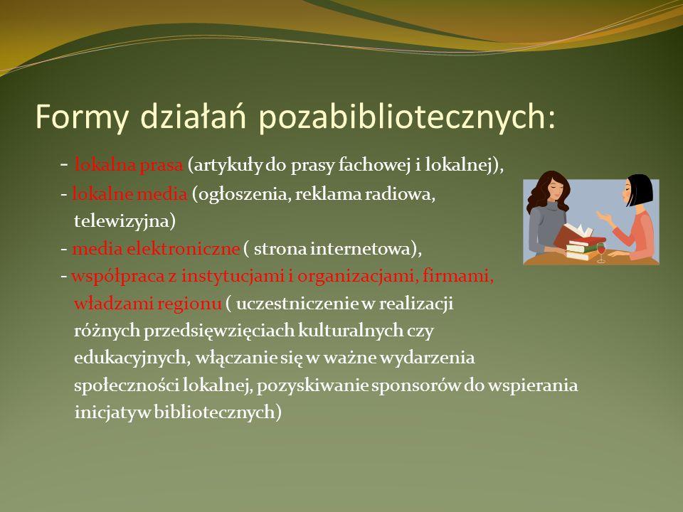 Formy działań pozabibliotecznych: - lokalna prasa (artykuły do prasy fachowej i lokalnej), - lokalne media (ogłoszenia, reklama radiowa, telewizyjna)