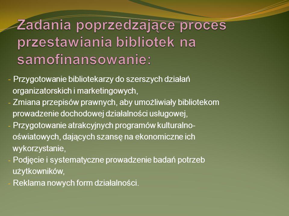 - Przygotowanie bibliotekarzy do szerszych działań organizatorskich i marketingowych, - Zmiana przepisów prawnych, aby umożliwiały bibliotekom prowadz