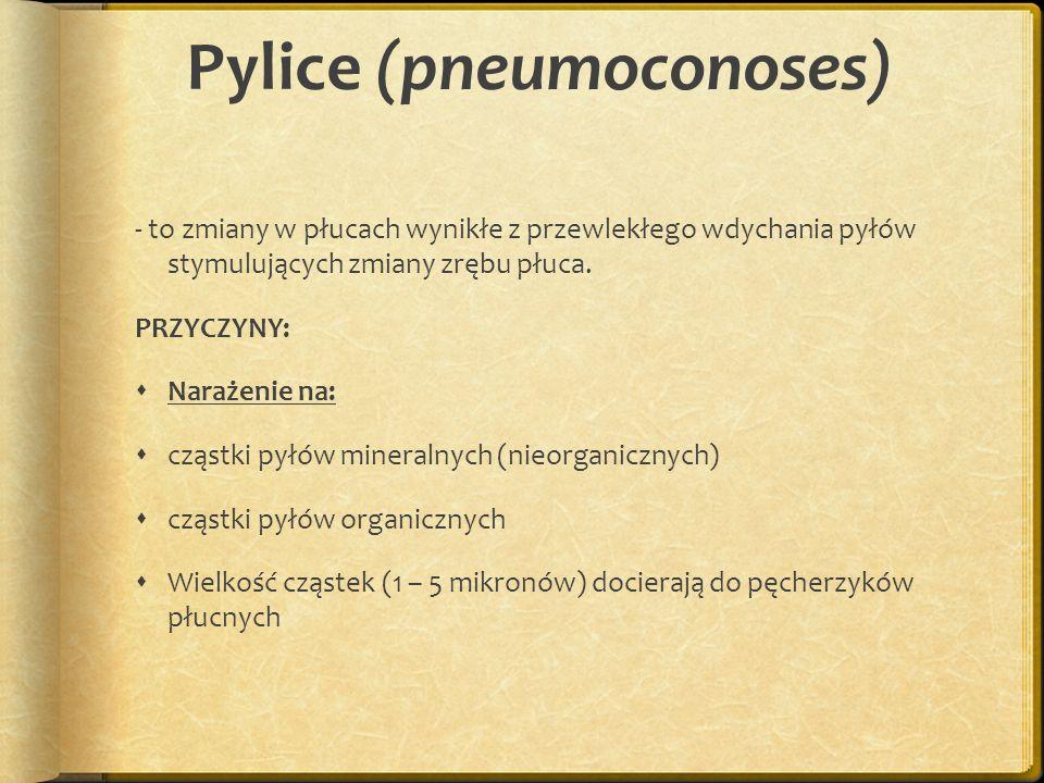 Pylice (pneumoconoses) - to zmiany w płucach wynikłe z przewlekłego wdychania pyłów stymulujących zmiany zrębu płuca. PRZYCZYNY: Narażenie na: cząstki