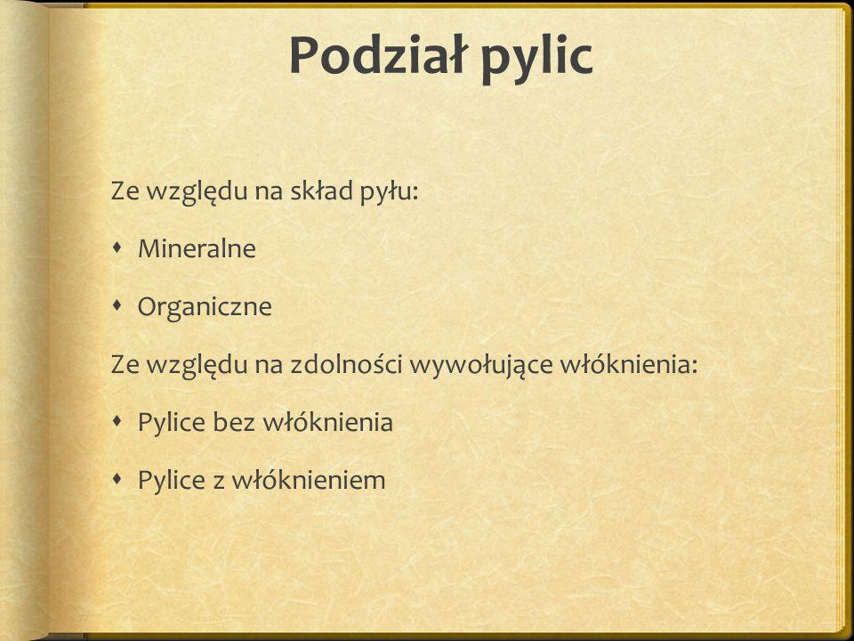 Podział pylic Ze względu na skład pyłu: Mineralne Organiczne Ze względu na zdolności wywołujące włóknienia: Pylice bez włóknienia Pylice z włóknieniem
