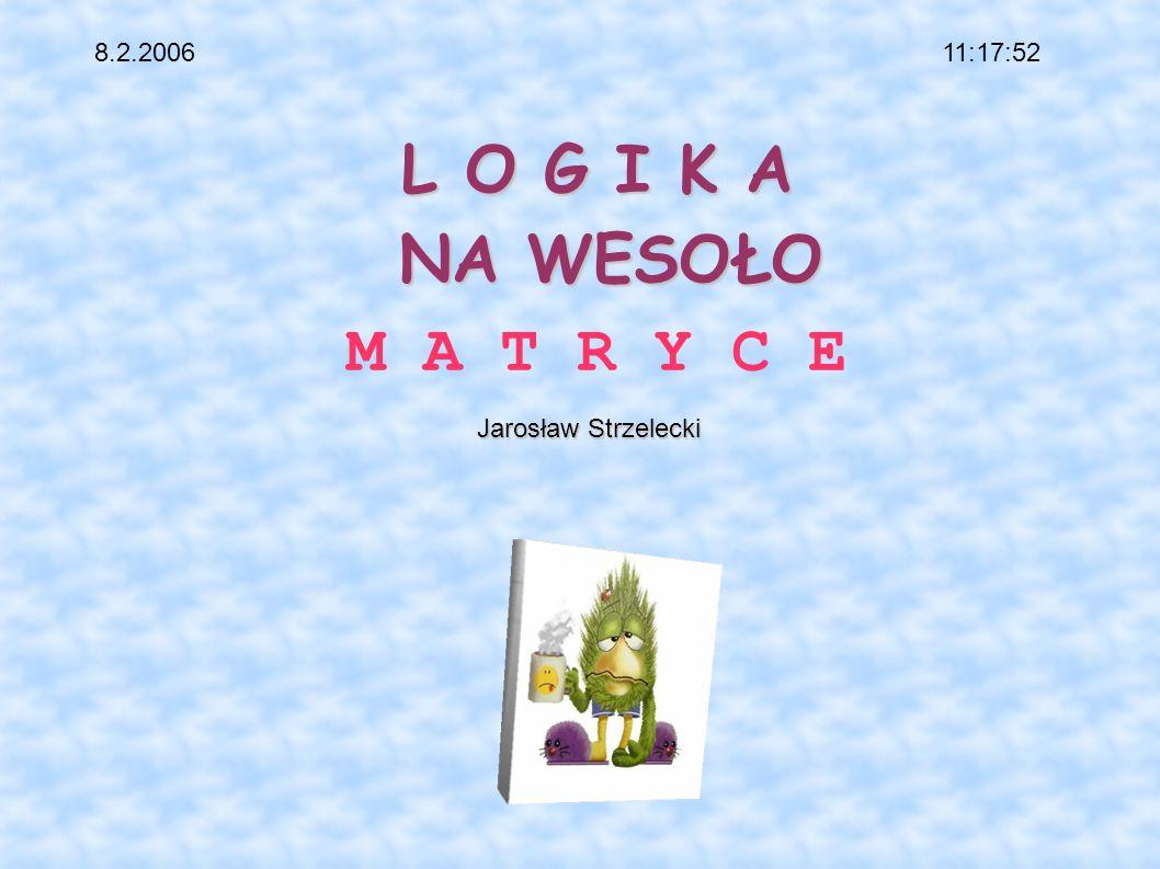 L O G I K A NA WESOŁO L O G I K A NA WESOŁO M A T R Y C E Jarosław Strzelecki Jarosław Strzelecki 11:17:528.2.2006
