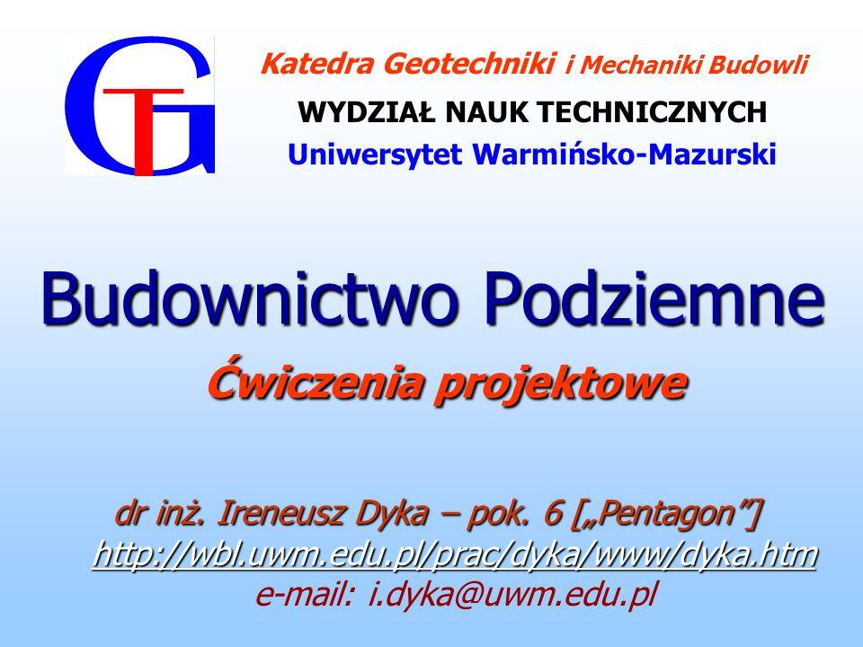 Literatura: Błaszczyk W., Stamatello M.: Budowa miejskich sieci kanalizacyjnych.