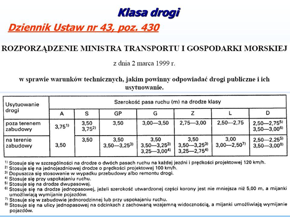 Klasa drogi Dziennik Ustaw nr 43, poz. 430