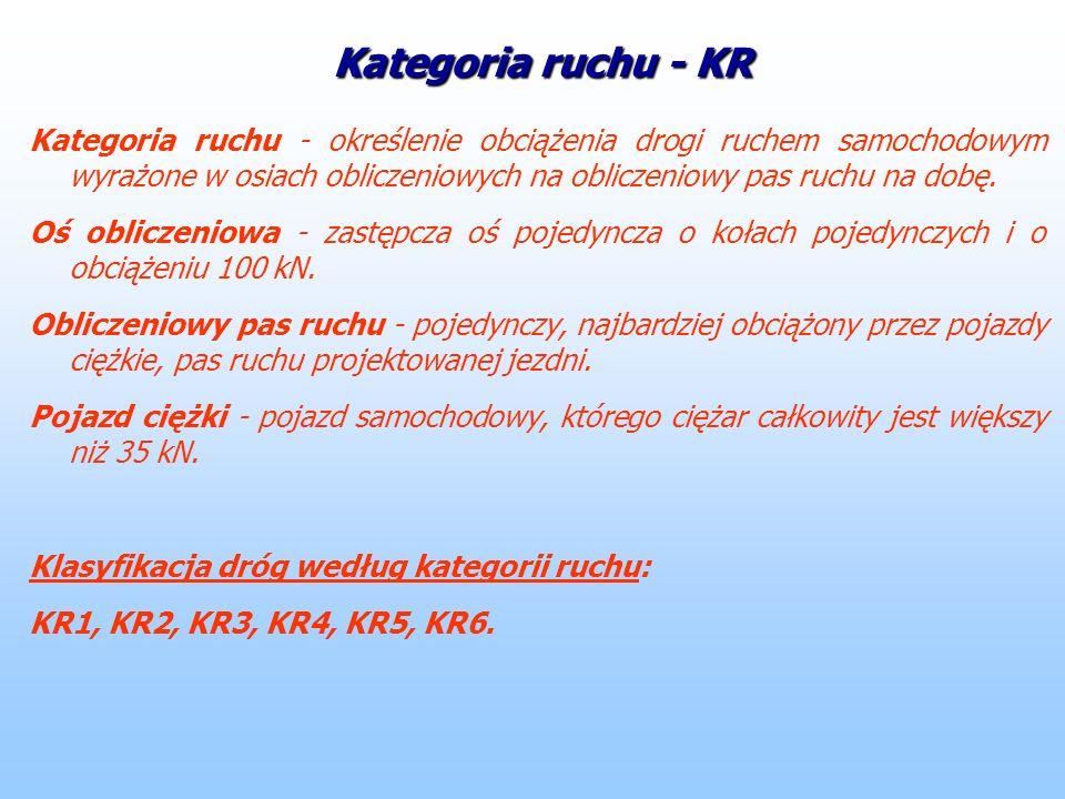 Kategoria ruchu - KR Kategoria ruchu - określenie obciążenia drogi ruchem samochodowym wyrażone w osiach obliczeniowych na obliczeniowy pas ruchu na d