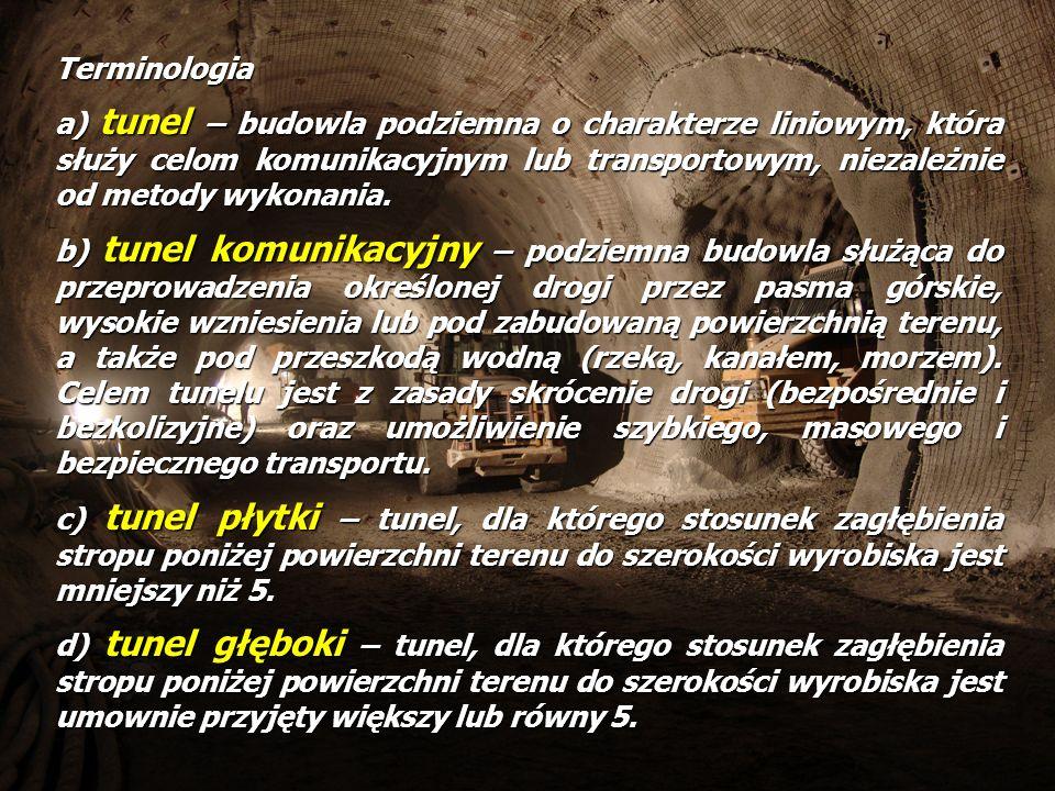 Terminologia a) tunel – budowla podziemna o charakterze liniowym, która służy celom komunikacyjnym lub transportowym, niezależnie od metody wykonania.