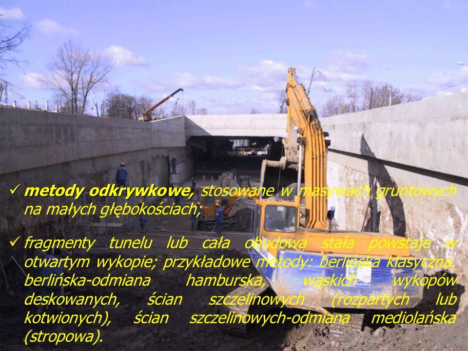 metody odkrywkowe, metody odkrywkowe, stosowane w masywach gruntowych na małych głębokościach; fragmenty tunelu lub cała obudowa stała powstaje w otwa