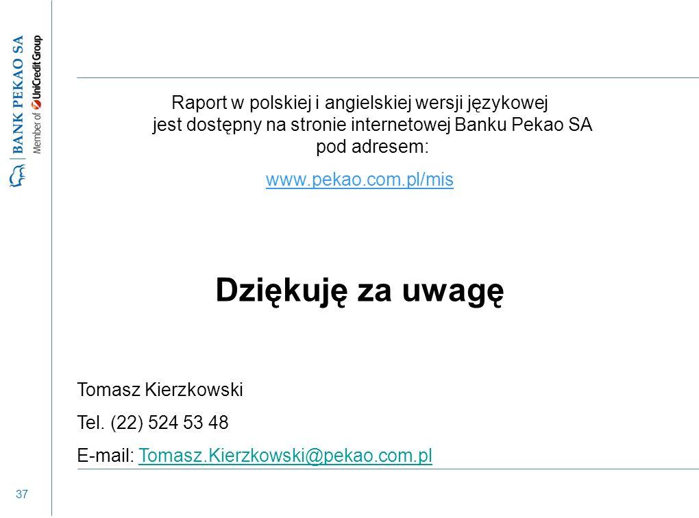 37 Raport w polskiej i angielskiej wersji językowej jest dostępny na stronie internetowej Banku Pekao SA pod adresem: www.pekao.com.pl/mis Dziękuję za