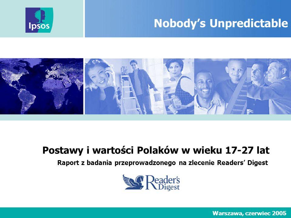 Nimm2 Lachgummi 1 Nobodys Unpredictable Raport z badania przeprowadzonego na zlecenie Readers Digest Warszawa, czerwiec 2005 Postawy i wartości Polakó
