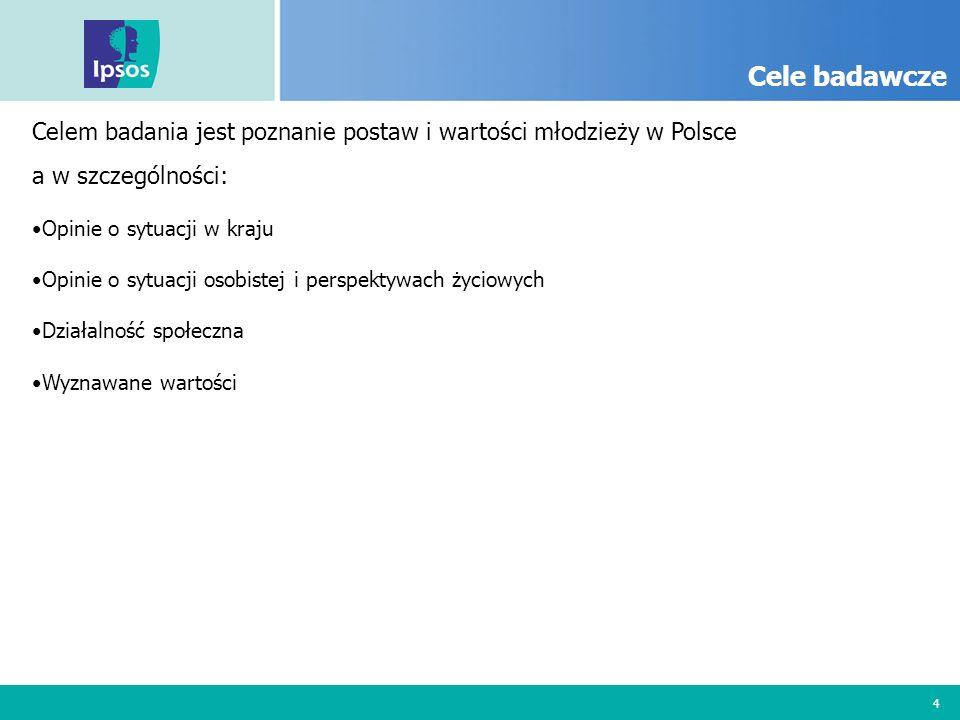 4 Cele badawcze Celem badania jest poznanie postaw i wartości młodzieży w Polsce a w szczególności: Opinie o sytuacji w kraju Opinie o sytuacji osobis