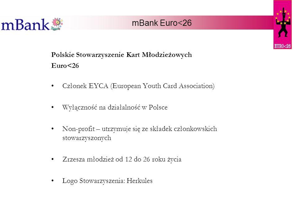 mBank Euro<26 Polskie Stowarzyszenie Kart Młodzieżowych Euro<26 Członek EYCA (European Youth Card Association) Wyłączność na działalność w Polsce Non-