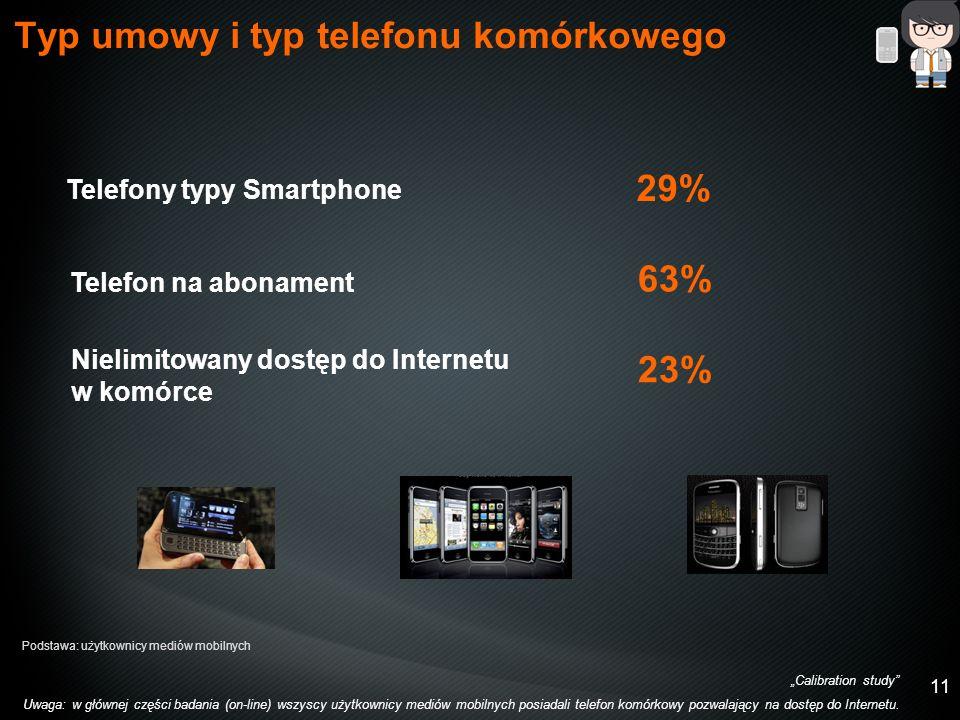 11 29% Telefony typy Smartphone Typ umowy i typ telefonu komórkowego Calibration study Uwaga: w głównej części badania (on-line) wszyscy użytkownicy mediów mobilnych posiadali telefon komórkowy pozwalający na dostęp do Internetu.