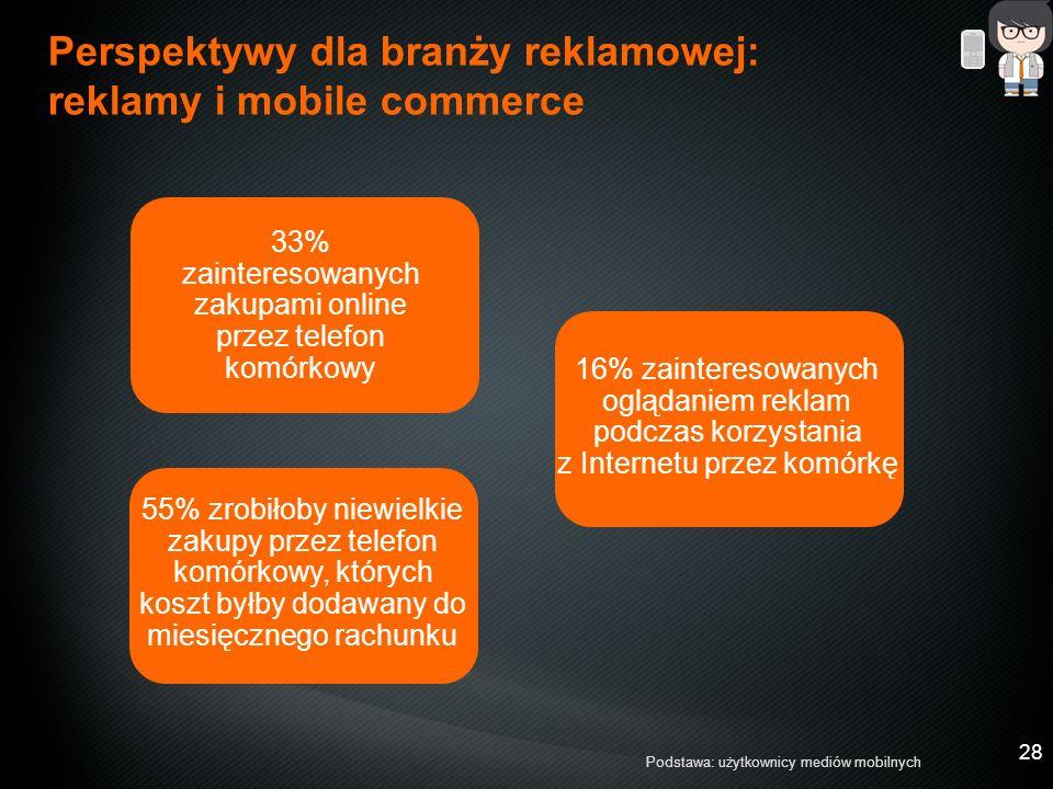 28 55% zrobiłoby niewielkie zakupy przez telefon komórkowy, których koszt byłby dodawany do miesięcznego rachunku 33% zainteresowanych zakupami online przez telefon komórkowy Perspektywy dla branży reklamowej: reklamy i mobile commerce Podstawa: użytkownicy mediów mobilnych 16% zainteresowanych oglądaniem reklam podczas korzystania z Internetu przez komórkę