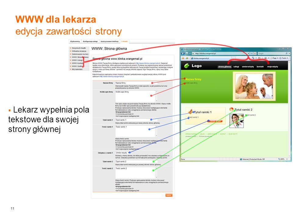 11 WWW dla lekarza edycja zawartości strony Lekarz wypełnia pola tekstowe dla swojej strony głównej