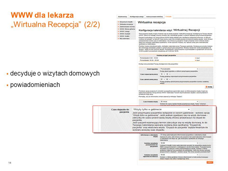 14 WWW dla lekarza Wirtualna Recepcja (2/2) decyduje o wizytach domowych powiadomieniach