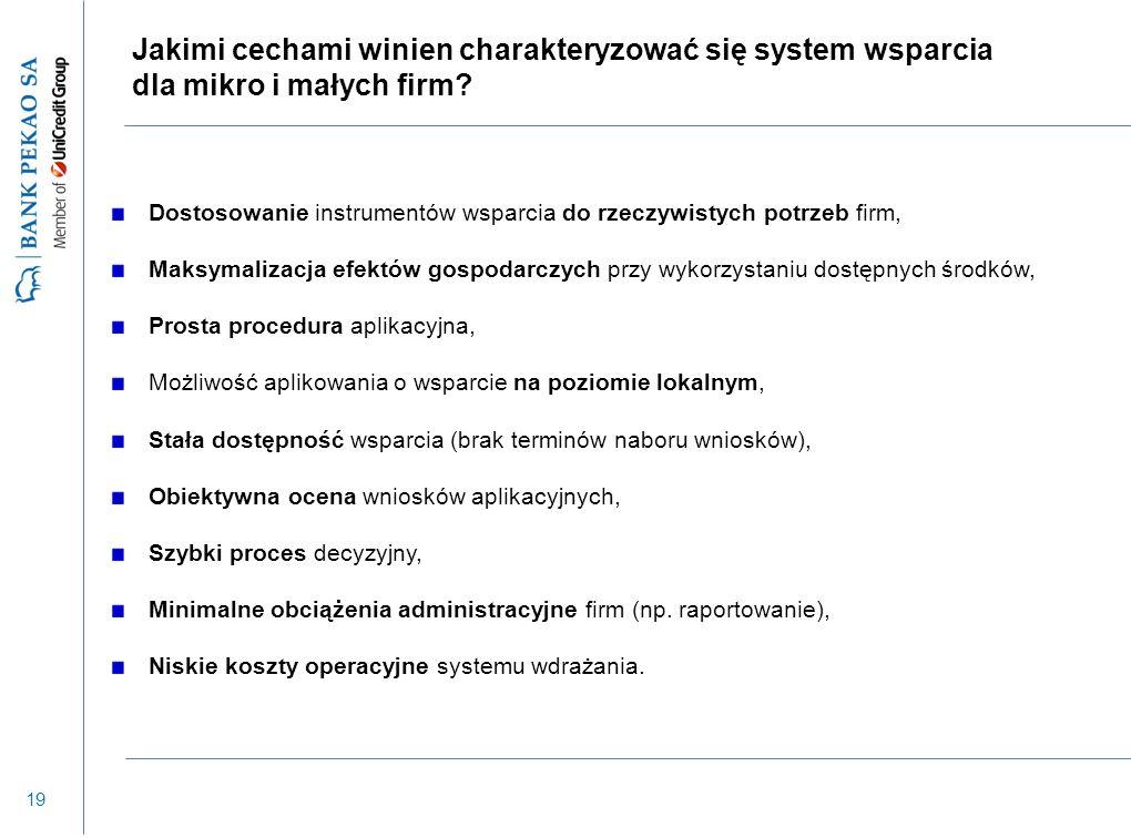 19 Jakimi cechami winien charakteryzować się system wsparcia dla mikro i małych firm? Dostosowanie instrumentów wsparcia do rzeczywistych potrzeb firm